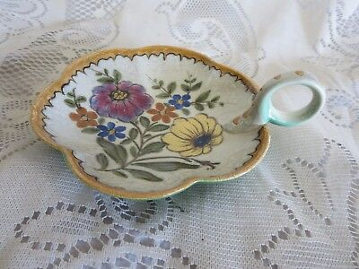 Vintage Royal Zuid-Holland Gouda Handled Scalloped Nappy Candy Dish Bertino 3176