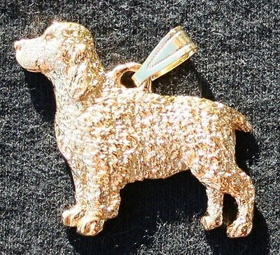 SPRINGER SPANIEL Dog 24K Gold Plated Pewter Pendant Jewelry USA Made