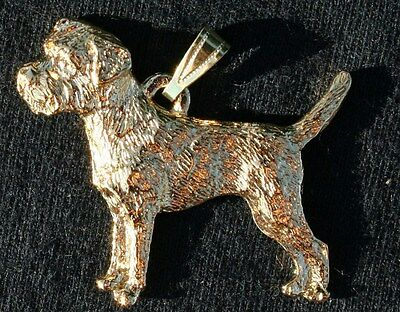 BORDER TERRIER Dog 24K Gold Plated Pewter Pendant Jewelry USA Made