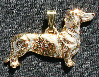 DACHSHUND Smooth Dog 24K Gold Plated Pewter Pendant Jewelry