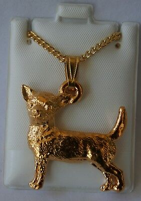 Chihuahua Dog 24K Gold Plated Pewter Pendant Chain Necklace Set