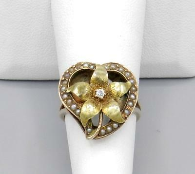 Antique Art Nouveau 14K Rose & Yellow gold HEART SHAPE Diamond & Seed Pearl Ring