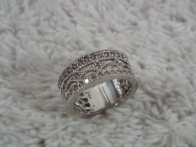Silvertone Rhinestone Filigree Band Ring ~ Size 6 (D70)