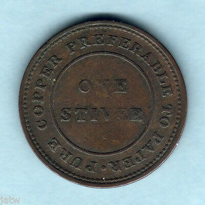 British Guiana. 1838 1 Stiver Token.. Trade & Navigation..  aVF/VF