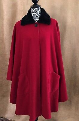 OSFA Le Moda Red Vintage Fleece cape Nanny coat jacket womens s m l xl one size
