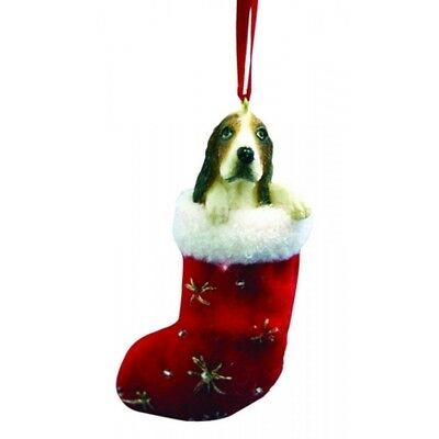 Basset Hound Dog Santa's Little Pals Stocking Christmas Ornament