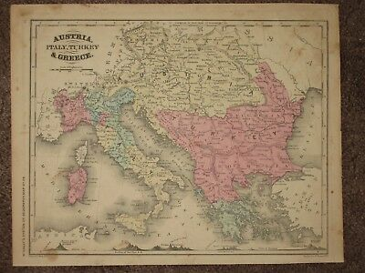 1860 ITALY STATES of the CHURCH AUSTRIA  ANTIQUE MAP McNally GEOGRAPHY Atlas