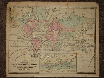 1860 WORLD ANTIQUE MAP McNally GEOGRAPHY Atlas Continental Basins Ocean Currents