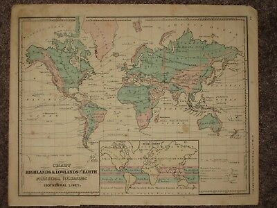 1860 WORLD ANTIQUE MAP McNally GEOGRAPHY Atlas Mountains, Volcanoes, Climate