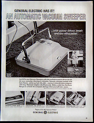 Vintage 1966 G-E General Electric Automatic Vacuum Sweeper Magazine Ad