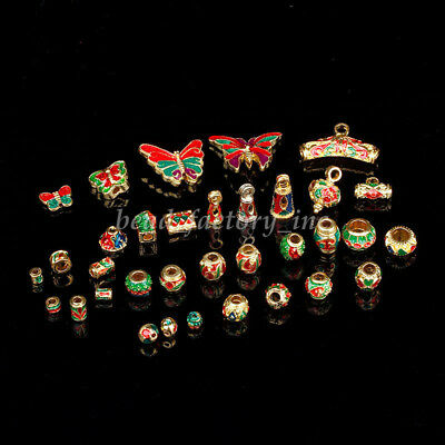 Bluk Gold Tone Enamel Red & Green Charms Alloy Loose Beads DIY Findings