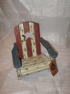 Rare Boyds Bears Accessory Weathered Red White Blue Star Wood Chair (Lot C)