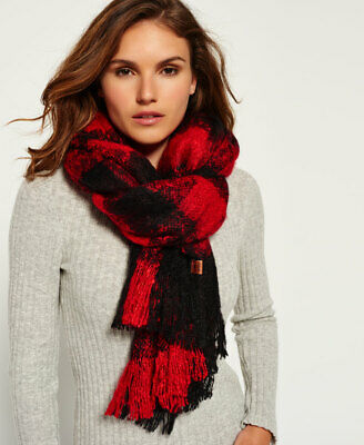 New Womens Superdry Orkney Scarf Red