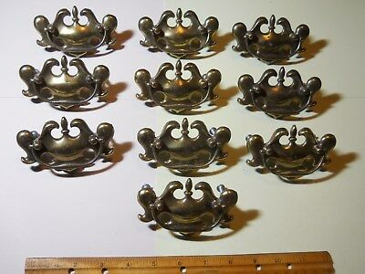 Lot of 10 Matching Vintage Brass Drawer Pulls