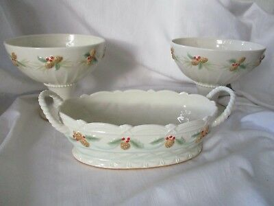 Lenox 3 pc lot console set bowl 2 pedestal one oval raised pine cones holly