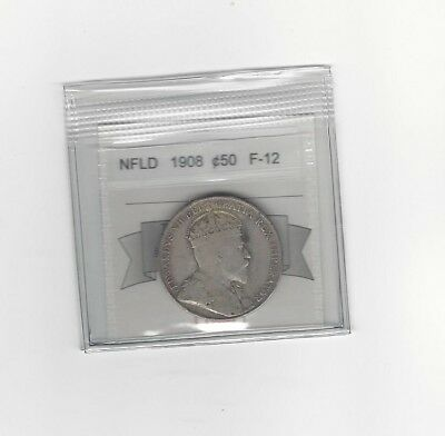 **1908**,Coin Mart Graded, Newfoundland Fifty Cent, **F-12**