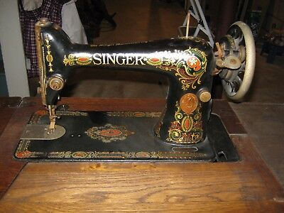 Antique 1919 Singer 66 Red Eye Treadle Sewing Machine with Cabinet