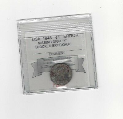 """**1943** USA, Small One Cent, Missing Digit """"4"""""""