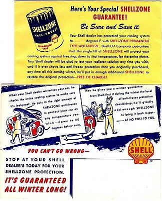 Shell Oil Shellzone Anti-Freeze Advertising Card & Envelope Lot of 2 gru1