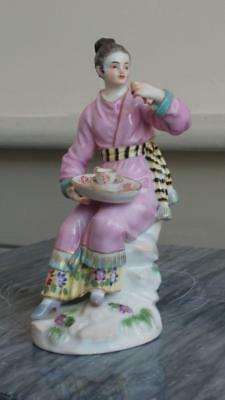 Extremely Rare 18th C Meissen F E Meyer Porcelain Oriental Lady Taking Tea 1748+