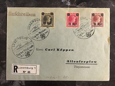 1941 Luxembourg Occupation Cover to Altentreptow Registered Stamp Day