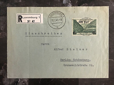 1941 Luxembourg Occupation Cover to Berlin Germany Registered