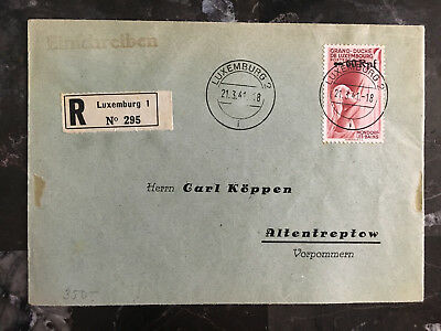 1941 Rodingen Luxembourg Occupation Cover to Altentreptow Registered
