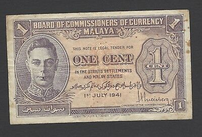Board of Commissioners of Currency Malaya 1941 1c banknote