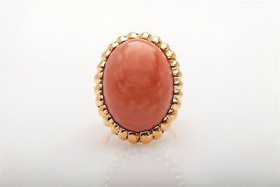 Antique 1940s $4000 RETRO 20ct Natural CORAL 14k Yellow Gold BIG HEAVY Ring