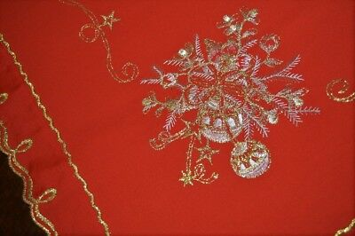A Classic Gold & Silver Metallic Christmas On Red! Vintage German Tablecloth