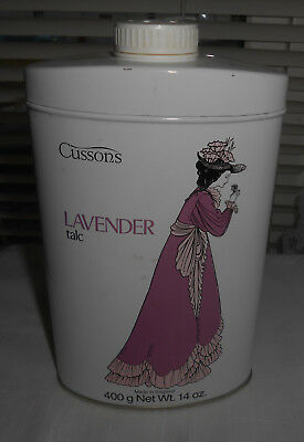 NEW LARGE RARE CUSSONS LAVENDER TALC 400g 14oz TIN BOTTLE JAR MADE IN ENGLAND