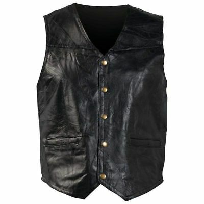 New Mens Genuine Leather Lg XL 2X 3X Motorcycle Biker Vest Italian Stone Design