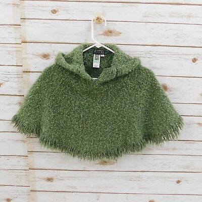 Moss Green Blarney Woollen Branigan Weavers IRELAND Child's Hooded Poncho SMALL