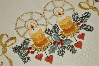 A Christmas Of Dangling Hearts & Glistening Bows! Vtg German Wool Tablecloth