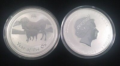 2009 Australia Lunar Series II One Ounce Silver Year Of The Ox Coin
