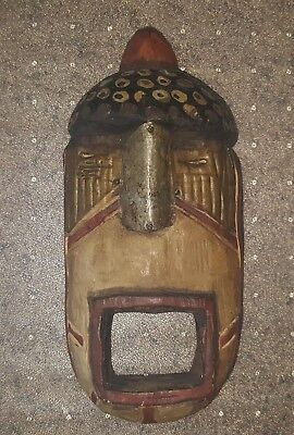 """Antique African Tribal Hand Carved & Painted Wood Mask 10"""""""