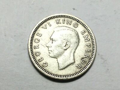 NEW ZEALAND 1937 three pence  coin nice condition