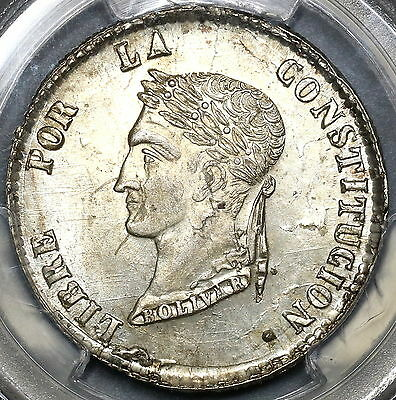 1856 PCGS MS 62 BOLIVIA Silver 4 Soles FLASHY Coin (17042101C)
