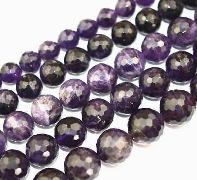 4MM 6MM 8MM 10MM Cut Faceted Round Natural Amethyst Gemstone Beads 15''