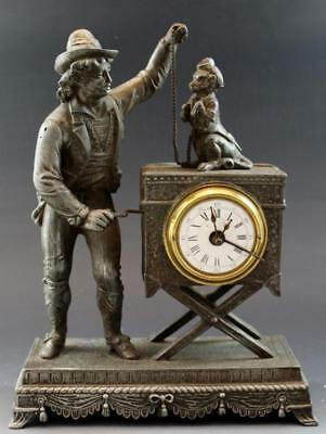 C1900 French Spelter Figural Table Clock Organ Grinder w/ Monkey Rare Form