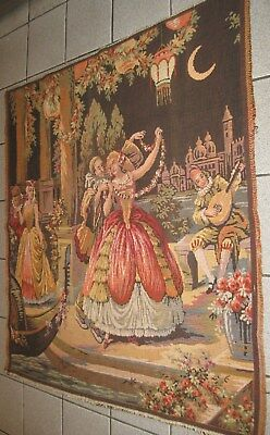 Antique Lg Beautiful Tapestry Wonderful Victorian Scene Made In Belgium