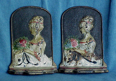 Antique Pair 11 Cast Iron French Colonial Lady Bookends Hubley Bradley & Hubbard