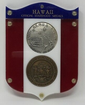 1959 Hawaii Official Statehood Medals Bronze & Sterling Silver #481 - Rare!