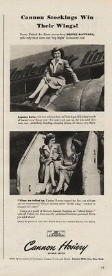 1945 Canon Hosiery Bette United Stewardess Sitting On Airplane Engine Steps Ad