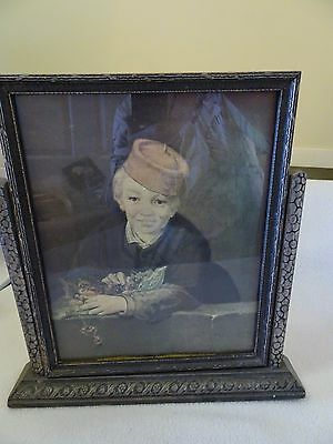 "Vtg. Art Deco Silver/black 8"" X 10"" Tilt Swing Picture Frame W. ""monet"" Print"
