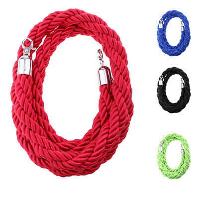 Queue Rope Barrier Twisted Rope Crowd Control with Silver Ends 2m/ 3m