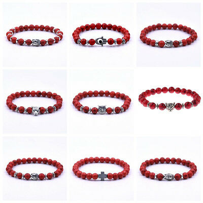 8mm Red Turquoise Stone Buddha Cross Owl Head Reiki Beaded Stretch Bracelets
