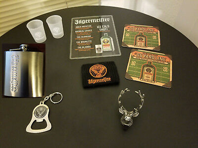 9 piece Jagermeister FLASK LOT keychain beer opener deer clip shot cups coasters
