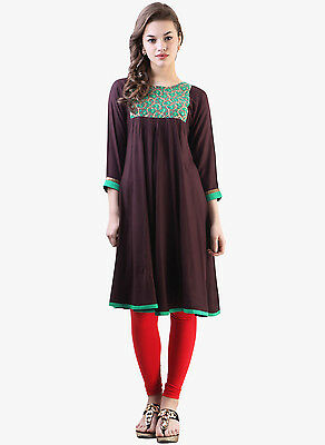 NWT Libas Embellished Kurta, Size Medium, Color Wine with Green/Gold Yoke