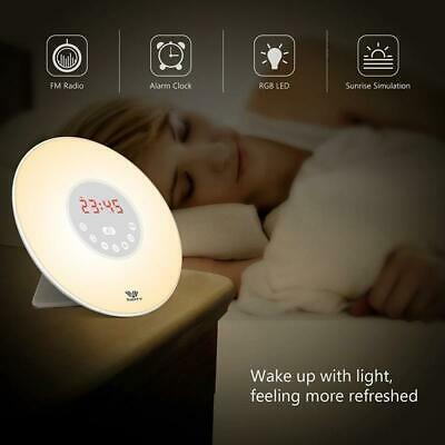 Wake-up Light Sunrise Alarm Clock LED FM Radio Bedside Sounds Night Colour Lamp